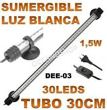 TUBO 30CM PANTALLA SUMERGIBLE 1,5W ACUARIO LED LUZ BLANCA GAMBARIO PECERA LEDS