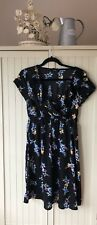 NEW LOOK MATERNITY DRESS black Floral Size 12 sleeves yellow Knee Length