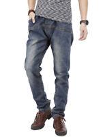 Mens Jeans Elastic Waist & Tie Jogger Pants Regular Fit Dark Wash Black W30-W44