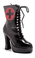 Ellie 557-NURSE Black Heel Nurse Medic Anime Goth Halloween Costume Ankle Boot