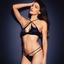 Agent Provocateur ROBYN BRA 34D & THONG AP Size 4 in BLACK SILK - BNWT