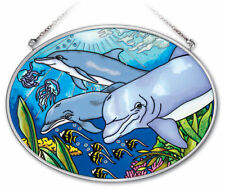 """Dolphins in the Deep Sun Catcher Amia 7""""x5"""" Hand Painted Glass Medium Oval New"""