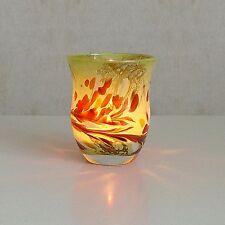 Windlicht Glas Dekoration Teelicht Apfelgrün mit buntem unikatem Motiv