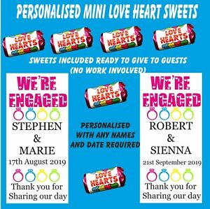 Personalised Mini Love Heart Sweets Engagement Favour Wedding Annoucement gift