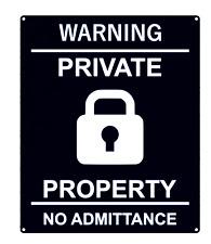 Haute Visibilité Noir et Blanc Privé No Admittance Signe Disponible En S, M Et L
