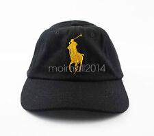 Men's Sport Polo Baseball Cap Embroidery Big Pony 3 Adjustable Hat Black / Gold
