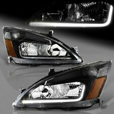 For 2003-2007 Honda Accord DRL LED Black Housing Headlights W/Amber Reflector