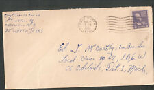WWii cover S/Sgt Thomas Swing 11th Instll Sq Carswell AFB Fort Worth TX to MI