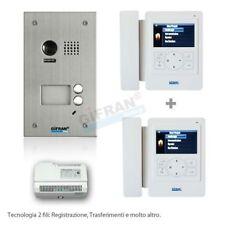 Kit videocitofono bifamiliare 2 fili pulsantiera e 2 monitor 4 pollici cornetta