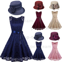 Woman Lace Dress Evening Wedding Cocktail Party Swing Short Bridesmaid Dresses