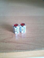 Chrome Silver Red Jeweled Valve Stem Covers/Caps For Schwinn, Huffy