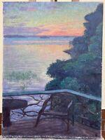 Sommerabend in Schweden am See Terrasse Monogramm Ölgemälde 83 x 60,5 cm Antik