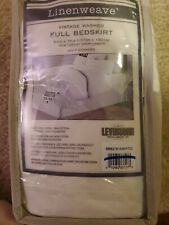 "LinenWeave Vintage Washed Full Tailored Bedskirt 15"" Drop Length In White"