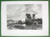 WINDMILL in Holland Stream - SUPERB Antique Print  Engraving