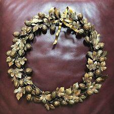 "Vintage  PETITE DRESDEN CHOSES Style Autumn Harvest 16"" Wreath ~ LEAVES & NUTS"