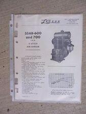 1956 Lauson Engine Parts Catalog List 55AB-600 + 700  2 HP  4 Cycle Air Cooled J
