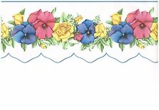 SCULPTURED PINK AND BLUE PANSIES WITH YELLOW ROSES WALLPAPER BORDER