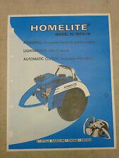 VINTAGE HOMELITE GAS CIRCULAR SAW SPEC SHEET SALES BROCHURE, Model: XL 100G-1A