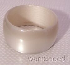 """signed MAX MARA made Italy GRAY PEARL LUCITE ACRYLIC BANGLE BRACELET 1.5"""" wide"""