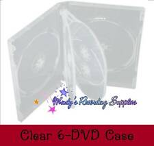 """CLEAR Slim 6 Six DVD/CD Disc Movie Box New 21 mm 7/8"""" thick 2-pack"""