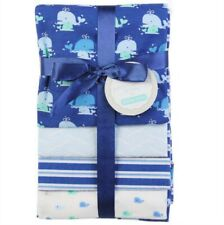 RECEIVING X4 - PETITE BOYS - WHALE TWIN BLUE - BLANKETS COTTON 4 PACK BABY