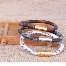 18k Gold Plated Black Bangle Damier Leather Cuff Bracelet Magent Closure