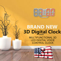 US Digital LED 3D Large Table Wall Clock Dimmer Alarm Snooze Home Decor -50% OFF
