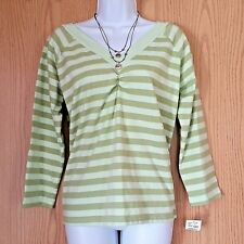 Jason Maxwell Womens Top Sz Large Green Stripe Front Back V-Neck Knit 3/4 Sleeve