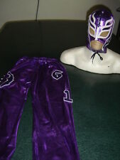 REY MYSTERIO PURPLE SUIT 6-10 year LYCRA morado FANCY DRESS COSTUME OUTFIT