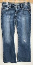SILVER Woman's Pioneer Blue Denim Destroyed/Distressed Bootcut Jeans Size 30/33