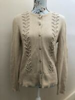 Butterfly By Williamson Angora Lambswool Long Sleeve Beige Cardigan Size 16
