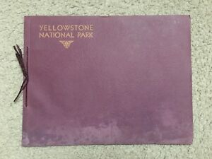 Vintage YELLOWSTONE NATIONAL PARK 12 Color litho linin PRINTS book HAYNES rare