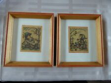 VINTAGE SET OF 2 HUMMEL FRAMED PRINTS BOY WITH HORN & GIRL WITH BIRD WITH GLASS