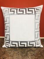 Greek Key Border white and silver crush velvet Versace Border Pillow Throw Cover