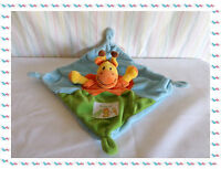 E - Doudou Semi Plat Girafe Bleu Vert Orange Jaune Nicotoy Ma Ptite Tribu