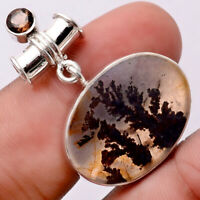 Russian Dendritic Agate and Smoky Topaz 925 Silver Pendant Jewelry SDP65217