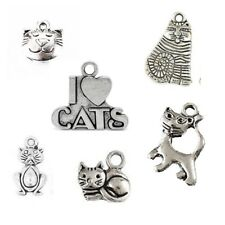 6 x Tibetan Silver Cat Theme Mixed Charms