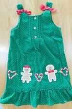 JENNY & ME Size 5 Green Corduroy CHRISTMAS/Holiday Dress~Gingerbread Man