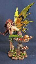 Fairy Dreaming of You on a Mushroom w/ Snail Friend Mythical Fantasy Figurine