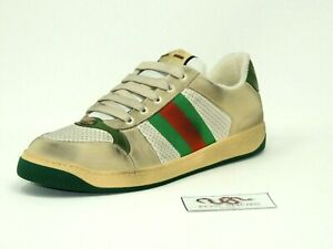GUCCI White Screener Sneakers GG Distressed - Size 11 Men's - NEW (Retail $870)