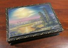 Unsigned  Russian Lacquer Hand Painted Box Landscape Trees River Church. 3C