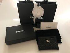 NWT CHANEL Gold CC Caviar Camellia Flower Card Case Holder Wallet Black
