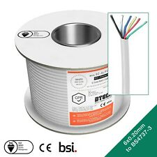 6 Core Premium Alarm Cable, Approved to BS4737-3.30 TYPE 3 - 100M WHITE PVC -CE
