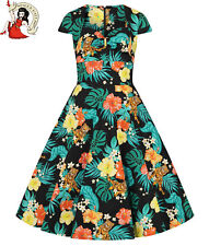 HELL BUNNY BALI 50s DRESS TIGER JUNGLE tropical BLACK rockabilly XS-4XL