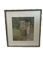 """Karen Poulson Collage on Paper Abstract Art Signed and Framed 18"""" x 19.25"""""""