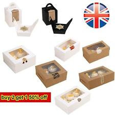 *UK Seller* Kraft Windowed Cupcake Boxes w/ Removable Inner Trays 3 Colours