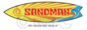 Holden HX / HZ SANDMAN Surfboard Shaped Sticka -Red / Yellow Text 09