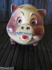 VINTAGE CAST IRON BANK YELLOW STANDING PIG FRESNO SAVINGS LOAN