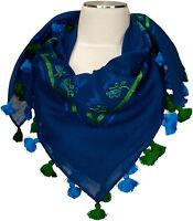 Trachtentuch Capriblau Grün 100% Wolle wool scarf Stickerei Gämse Eichen Quasten