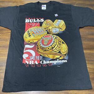 VINTAGE Chicago Bulls 1997 NBA 5-Time Champions Rings t-shirt L NEW